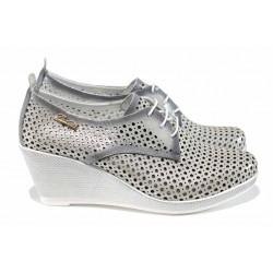 Анатомични дамски обувки от естествена кожа МИ 55-15 сребро | Дамски обувки на платформа | MES.BG
