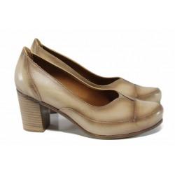 Анатомични дамски обувки от естествена кожа МИ 8256 бежов | Дамски обувки на висок ток | MES.BG
