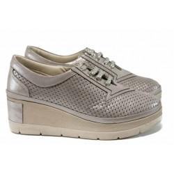 Анатомични дамски обувки от естествена кожа МИ 420-825 бежов-злато | Дамски обувки на платформа | MES.BG