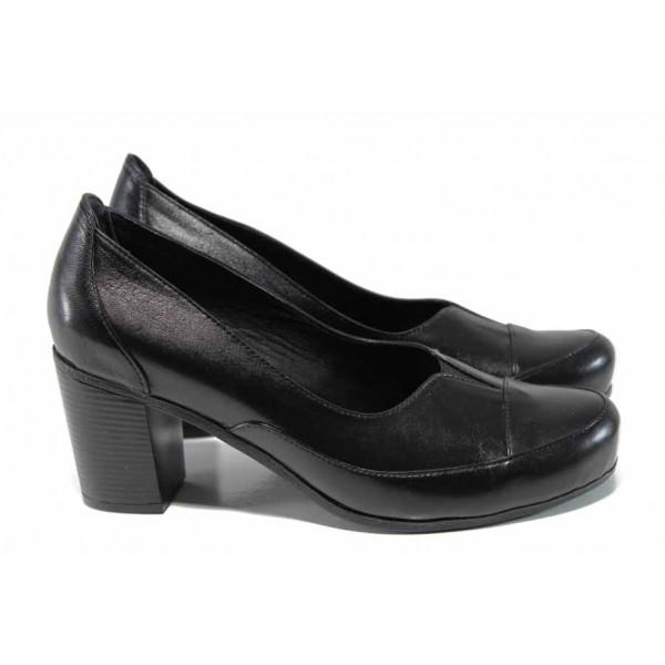 Анатомични дамски обувки от естествена кожа МИ 8256 черен | Дамски обувки на висок ток | MES.BG