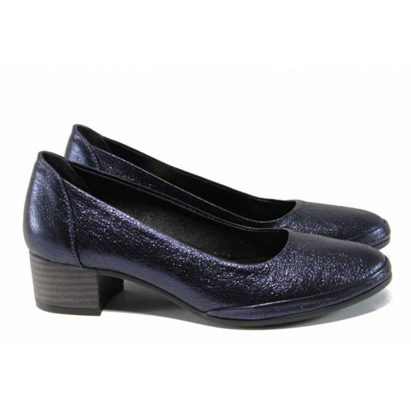 Анатомични дамски обувки от естествена кожа МИ 5800 т.син | Дамски обувки на среден ток | MES.BG
