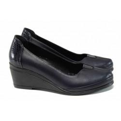 Анатомични дамски обувки от естествена кожа МИ 260 т.син | Дамски обувки на платформа | MES.BG