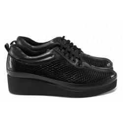 Дамски ортопедични обувки от естествена кожа МИ 019 черен | Дамски обувки на платформа | MES.BG