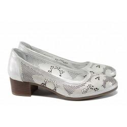 Анатомични дамски обувки от естествена кожа МИ 800 сребро | Дамски обувки на среден ток | MES.BG