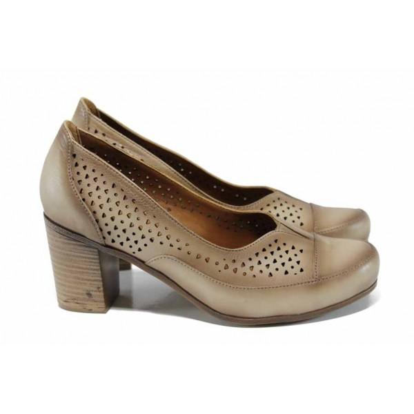 Комфортни дамски обувки от естествена кожа МИ 8254 бежов | Дамски обувки на висок ток | MES.BG