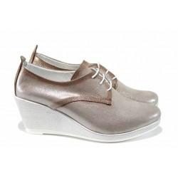 Анатомични дамски обувки от естествена кожа МИ 555-12 бежов | Дамски обувки на платформа | MES.BG