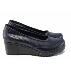 Анатомични български летни обувки от естествена кожа НЛ 262-8612 син | Дамски обувки на платформа | MES.BG