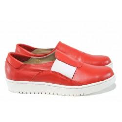 Анатомични български обувки от естествена кожа НЛ 201-1608 червен | Равни дамски обувки | MES.BG