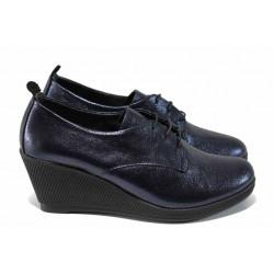 Дамски обувки от естествена кожа МИ 555-17 син | Дамски обувки на платформа | MES.BG