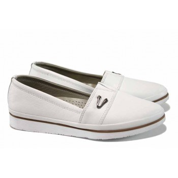 87465ea2293 Анатомични дамски обувки от естествена кожа МИ 268 бял | Равни дамски  обувки | MES.