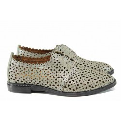 Анатомични дамски обувки от естествена кожа МИ 73-13 зелен | Равни дамски обувки | MES.BG