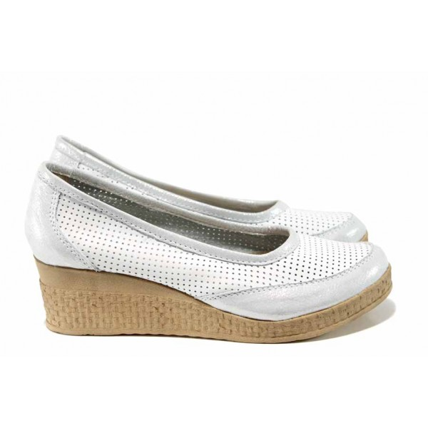 Анатомични български летни обувки от естествена кожа НЛ 262-18206 бял-сребро | Дамски обувки на платформа | MES.BG