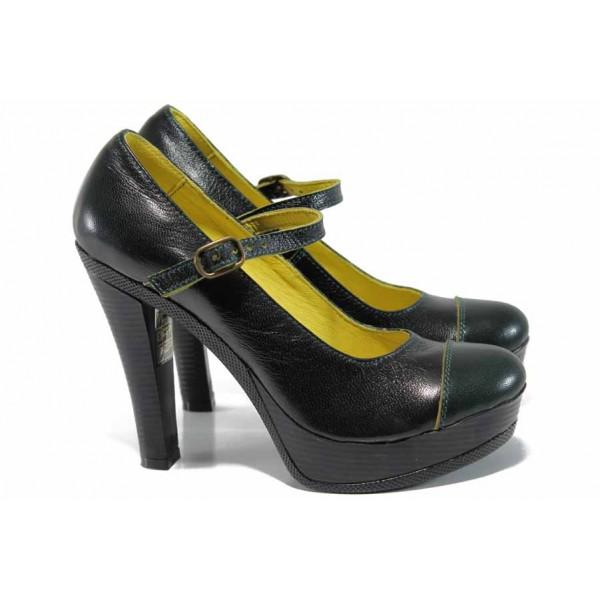Анатомични български обувки от естествена кожа НЛ 200-7903 зелен | Дамски обувки на висок ток | MES.BG