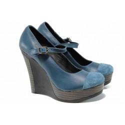 Анатомични български обувки от естествена кожа НЛ 200-8208 петрол | Дамски обувки на платформа | MES.BG