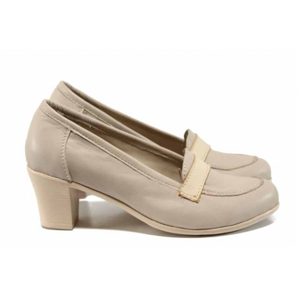 Анатомични български дамски обувки от естествена кожа НЛ 282-1705 бежов | Дамски обувки на среден ток | MES.BG