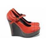 Анатомични български обувки от естествена кожа НЛ 200-8208 червен | Дамски обувки на платформа | MES.BG