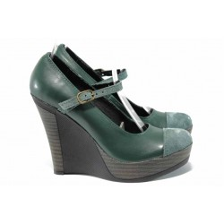 Анатомични български обувки от естествена кожа НЛ 200-8208 зелен велур | Дамски обувки на платформа | MES.BG