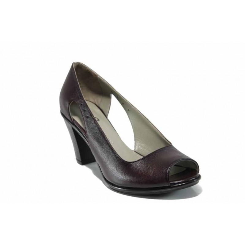 Дамски обувки от естествена кожа на еластично ходило МИ 573 бордо | Дамски обувки на висок ток | MES.BG