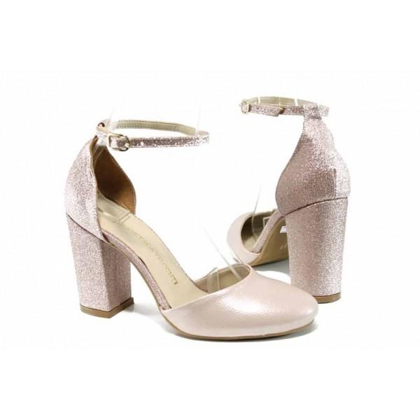 Елегантни дамски обувки с модерна визия МИ 596-5 розов | Дамски сандали на ток | MES.BG