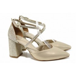 Елегантни дамски обувки с модерна визия МИ 548 злато | Дамски сандали на ток | MES.BG