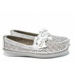 Анатомични дамски мокасини от естествена кожа МИ 301 бял | Равни дамски обувки | MES.BG