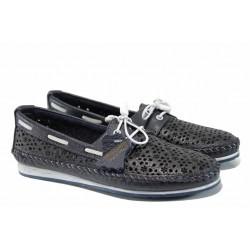 Анатомични дамски мокасини от естествена кожа МИ 301 син | Равни дамски обувки | MES.BG