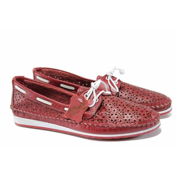 Анатомични дамски мокасини от естествена кожа МИ 301 червен | Равни дамски обувки | MES.BG