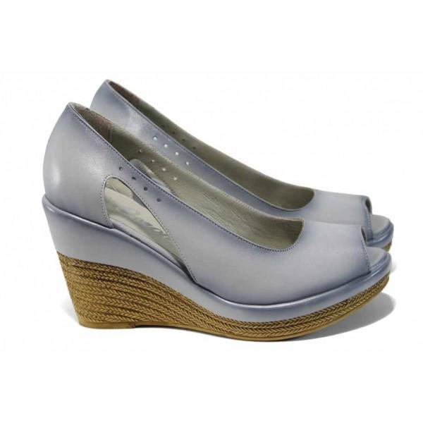 Дамски обувки от естествена кожа МИ 0573 св.сив | Дамски обувки на платформа | MES.BG