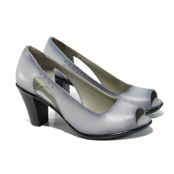 Дамски обувки от естествена кожа на еластично ходило МИ 573 св.сив | Дамски обувки на висок ток | MES.BG