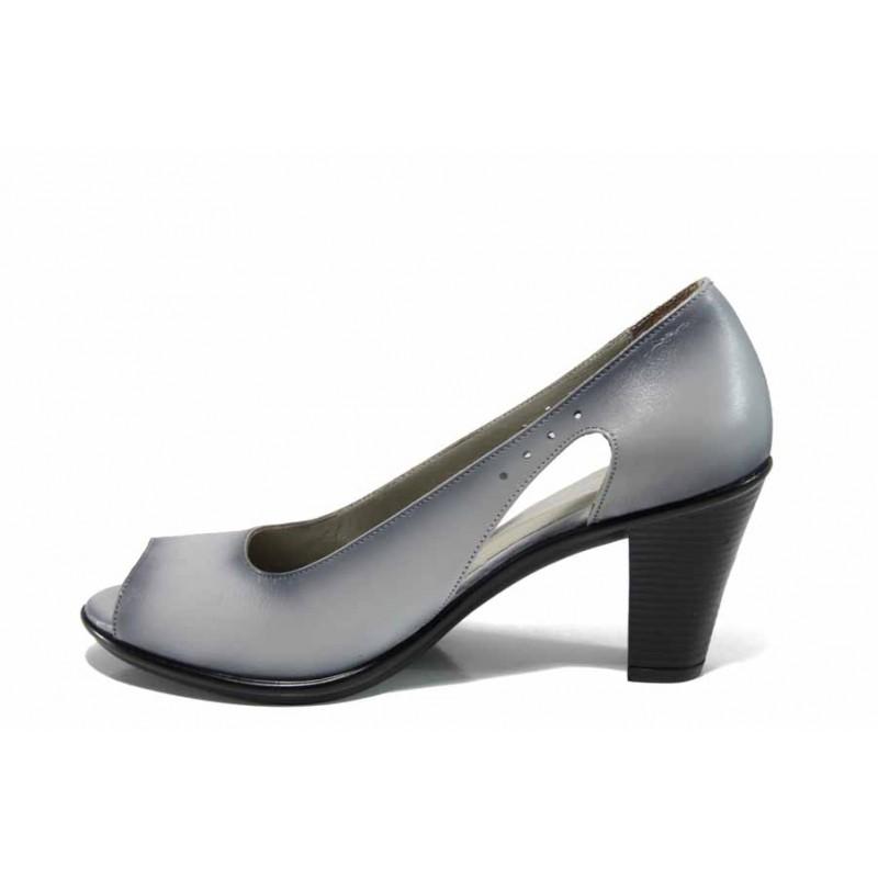 Дамски обувки от естествена кожа на еластично ходило МИ 573 св.сив   Дамски обувки на висок ток   MES.BG