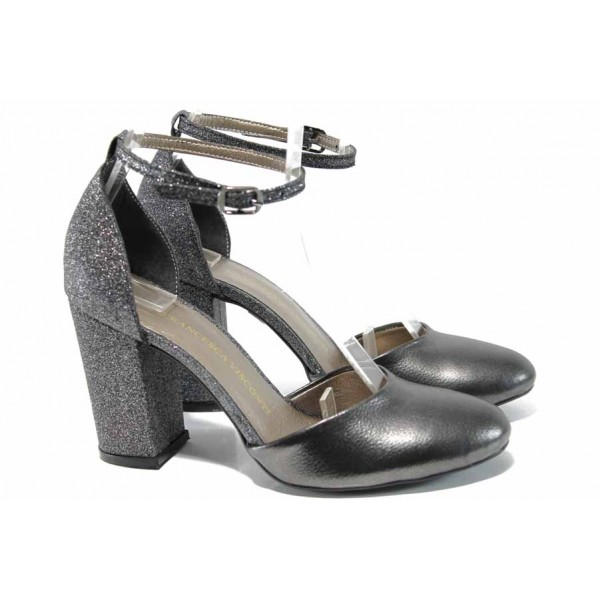 Елегантни дамски обувки на комфортно ходило МИ 596-7 т.сив | Дамски обувки на висок ток | MES.BG