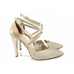 Елегантни дамски обувки МИ 547-1 злато | Дамски обувки на висок ток | MES.BG