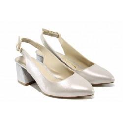 Елегантни дамски обувки на комфортно ходило МИ 798-8 бежов-сребро | Дамски обувки на среден ток | MES.BG