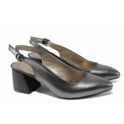 Елегантни дамски обувки на комфортно ходило МИ 798-7 графит| Дамски обувки на среден ток | MES.BG