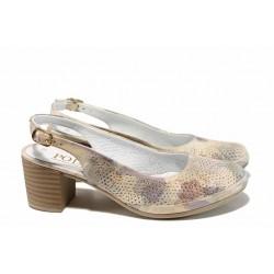 Анатомични дамски обувки от естествена кожа МИ 802-20 бежов | Дамски обувки на среден ток | MES.BG