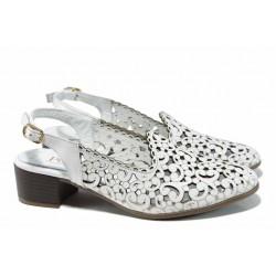 Анатомични дамски обувки от естествена кожа МИ 870 бял | Дамски обувки на среден ток | MES.BG