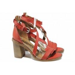 Анатомични български сандали от естествена кожа ИО 1881 червен | Дамски сандали на ток | MES.BG