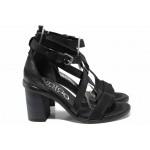 Анатомични български сандали от естествена кожа ИО 1881 черен | Дамски сандали на ток | MES.BG