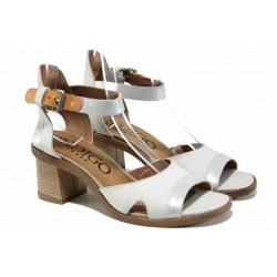 Анатомични български сандали от естествена кожа ИО 1671 опушено бял | Дамски сандали на ток | MES.BG