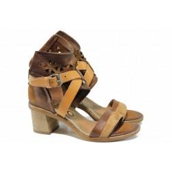 Анатомични български сандали от естествена кожа ИО 1664 кафяв | Дамски сандали на ток | MES.BG