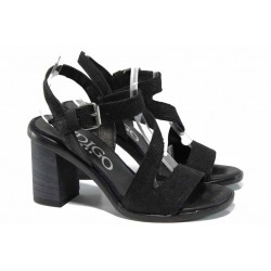 Анатомични български сандали от естествена кожа ИО 1594 черен | Дамски сандали на ток | MES.BG