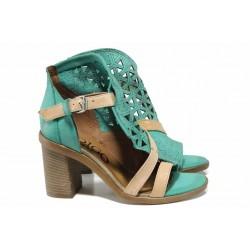 Анатомични български сандали от естествена кожа ИО 1757 зелен | Дамски сандали на ток | MES.BG
