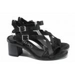 Анатомични български сандали от естествена кожа ИО 1673 черен   Дамски сандали на ток   MES.BG