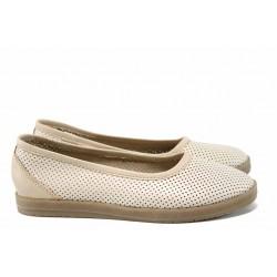 Анатомични български обувки от естествена кожа НЛ 286 сахара | Равни дамски обувки | MES.BG