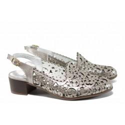 Анатомични дамски обувки от естествена кожа МИ 870-12 бежов | Дамски обувки на среден ток | MES.BG