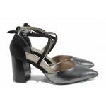 Елегантни дамски обувки с модерна визия МИ 548 т.сив | Дамски сандали на ток | MES.BG