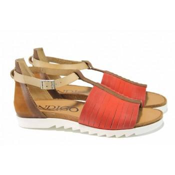 Ръчно изработени дамски сандали от естествени материали ИО 1876 червен | Равни дамски сандали | MES.BG