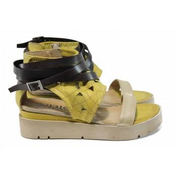 Ръчно изработени дамски сандали с лазерна перфорация ИО 1874 жълт | Равни дамски сандали | MES.BG