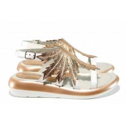 Модерни дамски сандали от естествена кожа МИ 886 бял корал | Равни дамски сандали | MES.BG