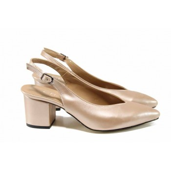 Дамски обувки с отворена пета МИ 7304 корал | Дамски обувки на среден ток | MES.BG